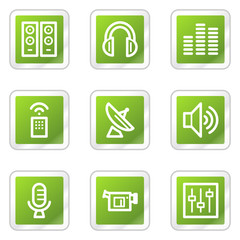 Media web icons, green square sticker series