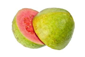 Two halves of pink guava isolated on white background