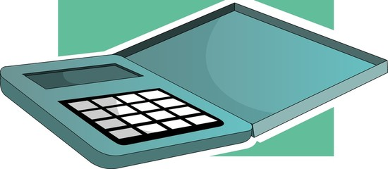 Illustration of calculator with maths number