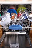 open dishwasher with clean dishes in kitchen poster