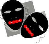 two mask in a black shade background