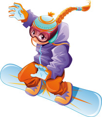 Young snowboarder girl. Vector cartoon sport character.