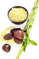 green bath salt with bamboo