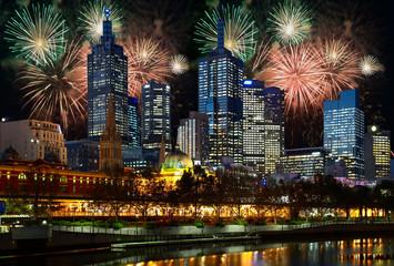 Fireworks over Melbourne city