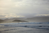 Overcast weather at ocean coast poster