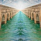 Metaphor concept  of optimistic spirit with infinite bridges poster