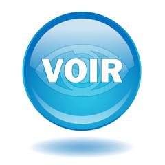 """Bouton web rond """"VOIR"""" (médias vidéo bleu oeil symbole)"""