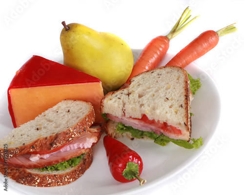 Ham sandwich isolated on a white background