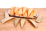 Pieces of cantaloupe.