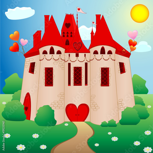 Foto op Aluminium Kasteel Fairy tale princess castle