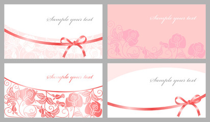 Congratulatory cards in pink tones