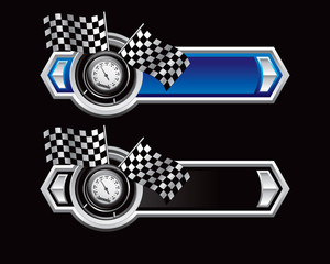 speedometer and flags blue and black arrows