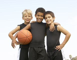 Young Boys In Basketball Team
