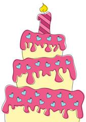 bunte Torte mit Herzen