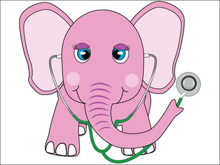 pink doctor elephant vector