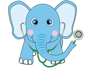 blue doctor elephant vector