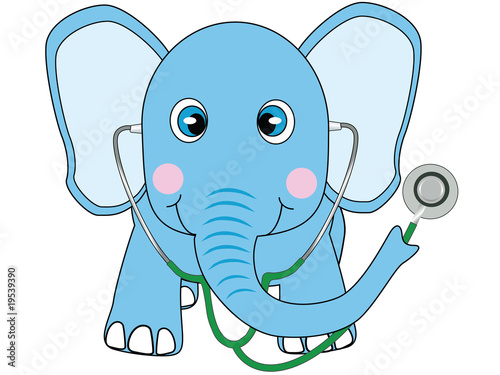 blue doctor elephant vector