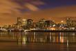 cityscape night scene Montreal Canada river in winter