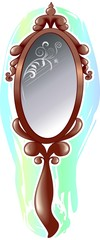 brown mirror with glasses and colour background
