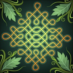 Illustration of kolam design on floral background