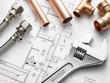 Leinwanddruck Bild - Plumbing Equipment On House Plans