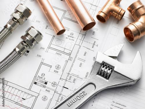 Leinwanddruck Bild Plumbing Equipment On House Plans