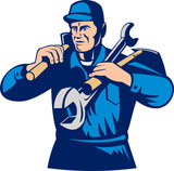 tradesman handyman worker carrying tools poster
