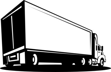 Container Truck and trailer isolated on white