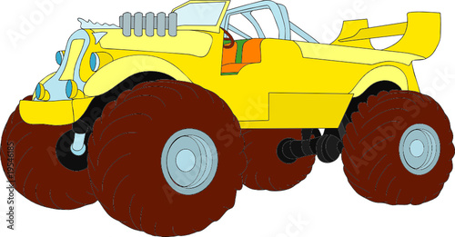 Foto op Canvas Cartoon cars vector - monster truck as historic car