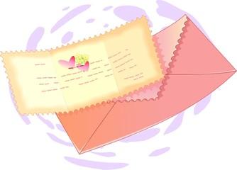 Illustration of envelop with letter