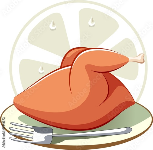 Illustration of plate with chicken and fork