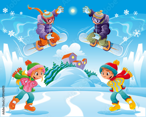 Winter scene. Funny cartoon and vector illustration.