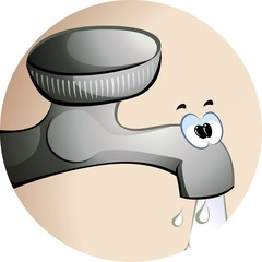 Illustration of comic tap with water