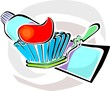 Illustration of tooth paste and brush
