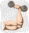 Illustration of hand holding dumbbell