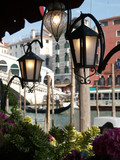 Atmosphere of Canal Grande by lamplight - Venice Italy poster