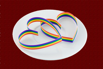 St. Valentine Day.Two hearts, paint of a six-colour gay flag