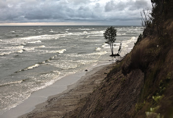 Erosion of Baltic coast due to the storms and climate change