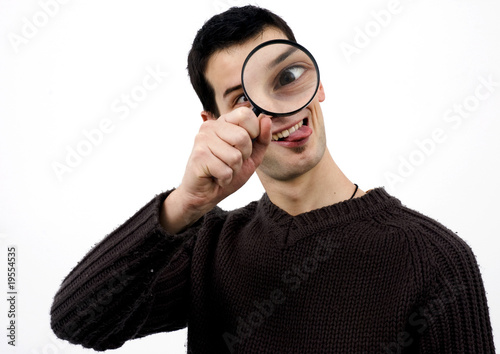 Crazy guy with loupe
