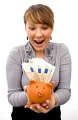Lady with piggy-bank
