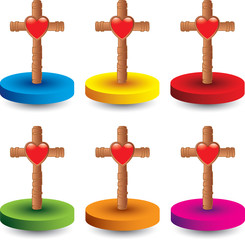heart and Christian cross colored round discs