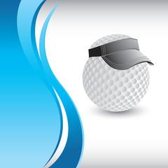 golf ball with visor vertical blue wave background