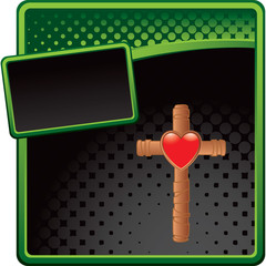 heart and Christian cross green and black halftone banner
