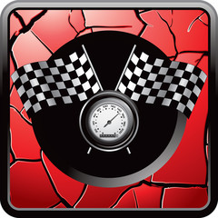 speedometer and flags red cracked web button