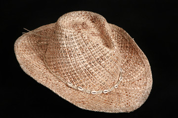 Straw hat on a black background
