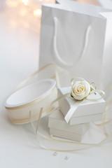Present white box and decoration
