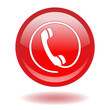 Round web button with telephone symbol (hotline customer care)