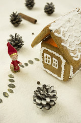 gingerbread house with winter decoration