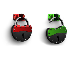 3d lock - unlock web icon,red - green - black