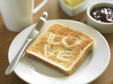 Toast with the word LOVE cooked into surface